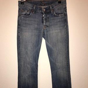 7FAM Boy Cut Distressed Button FLy Jeans Sz 26